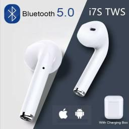 Fone de Ouvido Bluetooth I7s Tws Sem Fio com caixa portátil para carregamento