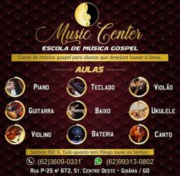 Aulas de instrumentos musicais e canto gospel