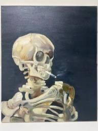 """Releitura tinta à óleo de Vincent Van Gogh """"Caveira com Cigarro Aceso"""" pintado à mão"""