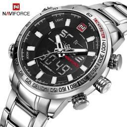 Título do anúncio: Relógio NAVIFORCE 9093 Militar Prata Aço Resistente á água 3ATM inox ENTREGA GRÁTIS*