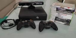 Título do anúncio: Xbox 360 com 2 controles, headset e 11 jogos originais