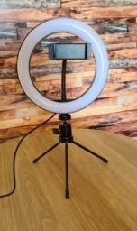 Anel de led Ring Light 8 Pol 20cm com Tripé De Mesa e Suporte Celular