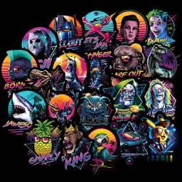 100 Super Adesivos Pretos Coloridos De Filmes e Personagens