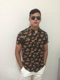 Camisas floral manga curta