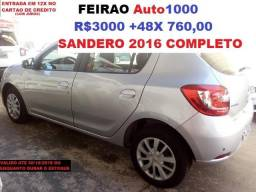 Sandero 2016 Prata Completo. R$3.000,00 + 48X. - 2016