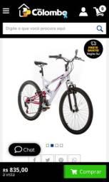 Bicicleta Aro 26 V-brake Mormaii Fullsion Suspensão - Branca com rosa