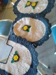 Kit 3 peças de crochê para banheiro-Frete grátis para todo o Brasil
