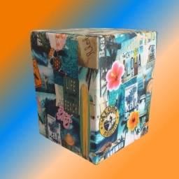 Puff Cubo Aloha - Couro Sintético