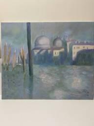 """Releitura tela à óleo de Claude Monet (Famoso pintor impressionista) """"Le Grand Canal"""""""
