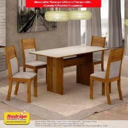 Título do anúncio: Conj.Mesa de Jantar Leifer 4 cadeiras Florença 1.20cm c/Tampo vidro (Canela/Offwhite)