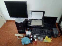 Computador completo, Notebook, Impressora, Kit de Tintas, Roteador + filtro de linha