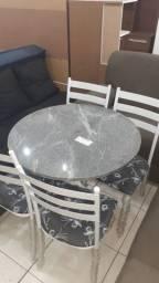 Conjunto mesa c/ 4 cad - tampo granito redondo - super oferta