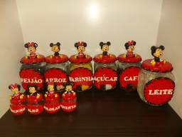 Potes de porta condimentos e mantimentos da Minnie e do Mickey