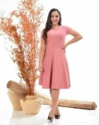 Vestido Rosa Midi Moda Evangélica) 42/44