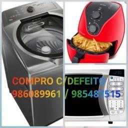 Título do anúncio: Microondas máquina de lavar e fritadeira(compramos com defeito)