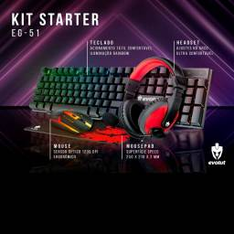 Título do anúncio: Kit Gamer Teclado Mouse Headset Mousepad Starter EG-50 Evolut