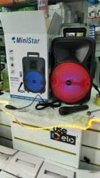 Caixa de som MiniStar 300w com microfone