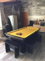 Mesa de Bilhar Com Redinhas Tecido Amarelo Modelo CCW8202