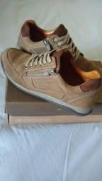 Sapato couro legítimo, solado ultra macio