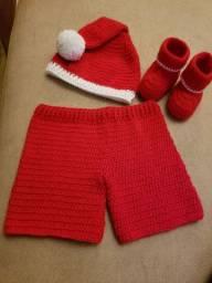Conjunto bebê em crochê papai Noel newborn