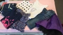 Lote de roupinhas 4/6 anos - saias blusas camisetas shorts Calça jeans