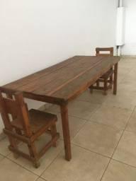 Mesa rústica + cadeiras