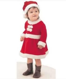 Vestido Fantasia Mamãe Noel Com Gorro Infantil De Luxo