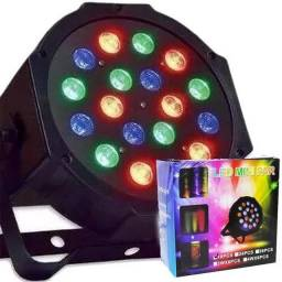Refletor Led Par 64 Rgb 18 Leds Digital Display Strobo Dj
