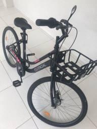 Bicicleta Aro 26 Caloi Essencial T18R26V1 Preta com Cesta 1 Marcha