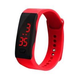 Relógio de Pulso Display Digital LED Vermelho Feminino Masculino Unisex Hora e Data