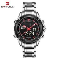 Relógio Prata Militar Naviforce 9050 aço digital lindo RESIST ÁGUA 3ATM ENTREGA GRÁTIS*
