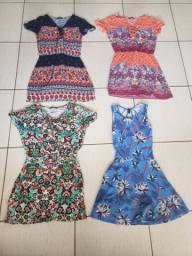 Vendo kit de 4 vestidos 3 de viscose e 1 de meia