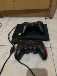PS2 + CONTROLE ORIGINAL + CONTROLE SEM FIO + PEN DRIVE 64GB