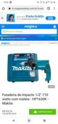 """Título do anúncio: Furadeira de impacto 1/2"""" 710 watts com maleta - HP1630K - Makita"""