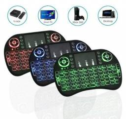 Mini Teclado Mouse Touchpad Wireless Recarregável Com Luz