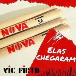Baquetas Nova Vic Firth (7A 5A) e Vick Firth American Classic (5A)