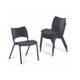 Cadeira Fixa em polipropileno preto