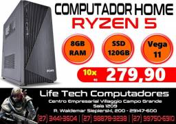Computador Home AMD Ryzen 5 3400G (4.2GHz Turbo)| Vega 11| 8gb DDR4 | SSD 120gb | NOVO