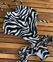 Título do anúncio: Body/maiô de zebra com recortes nas laterais e sem bojo - peça exclusiva