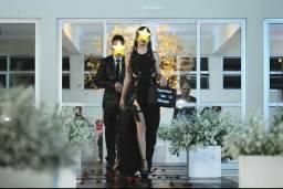 Vestido de festa - preto com fenda e pedraria - Fiorella Modas