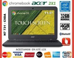 """Chromebook Acer Celeron, 4GB, Tela 11.6"""" Touch, eMMC 32GB, Wi-Fi, Novíss, Gar Troco"""