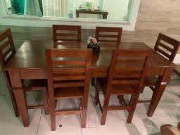 Mesa com 6 cadeiras em Angelim 1,70 m.