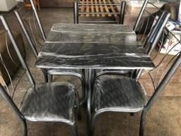 Título do anúncio: Mesa 4 cadeiras mármore nova