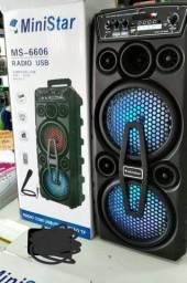 Caixa de som torre 500w com microfone