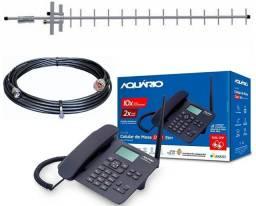 Kit Completo Telefone Rural Celular Com Antena Desbloqueado Aquário - 7497