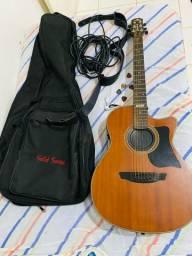 Kit violão strinberg + capa + alça + capotraste + palhetas + cabo