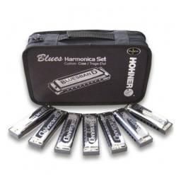 Kit Gaita de Boca Hohner Blues com 7 Harmônicas 5277 + Estojo - Somos Loja