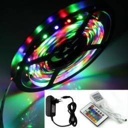 Fita de Led RGB colorida 5m com Controle e Fonte
