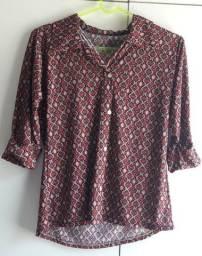 Blusa camisa manga 3/4 de malha. Nova