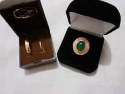 Jóia antiga anel e par de alianças em ouro 18k